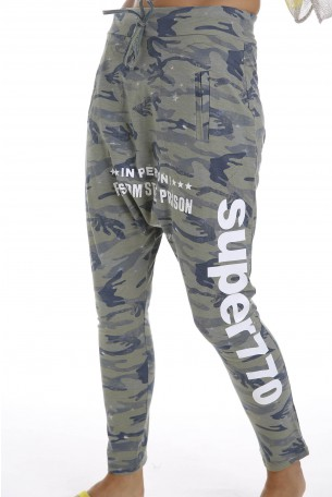 Olive Camo Designed  Drop Crotch  Pants PRISON
