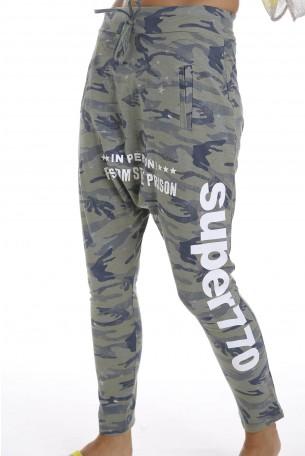 Olive Camo Designed Drop Crotch Pants PRISON