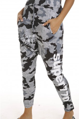 Gray Camo Designed  Drop Crotch  Pants PRISON