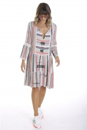 Gray and Red Color Embroidered Linen Dress YOU & ME