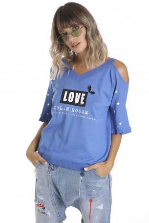 Blue Wide Printed Top LOVE