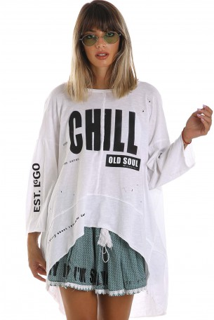 White Wide Printed Top CHILL