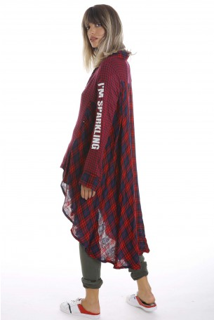 Red and Blue Plaid Tunic Top  EVERY DAY