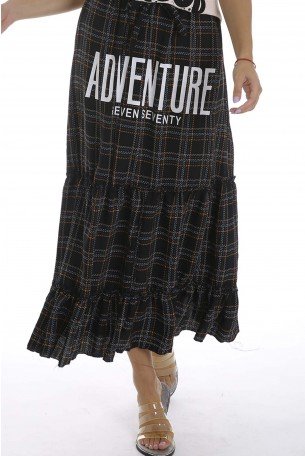Black and Gold Plaid Skirt ADVENTURE