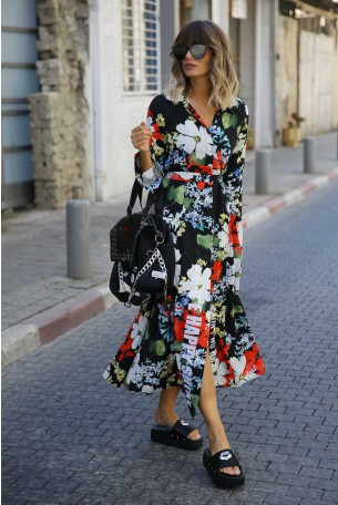 Floral Maxi Designed  Dress HAPPY