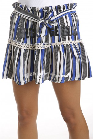 Blue Stripes Designed Mini Skirt SUPER