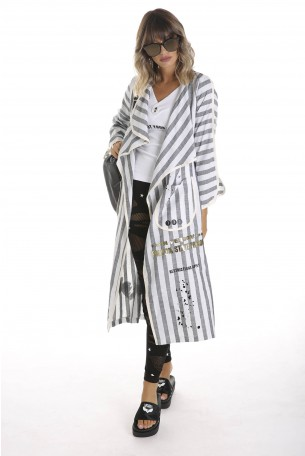 Striped Longline Duster Jacket FRIENDS