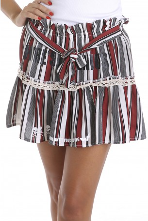 Red Striped Designed Mini Skirt SUPER