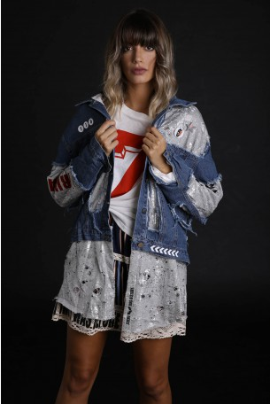 Decorated Printed Denim and Silver Pullover Jacket FRIDAY