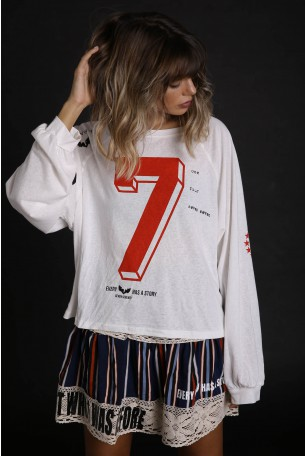 White Wide Printed Top SEVEN
