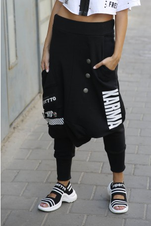 Black Jogger Drop Crotch Pants NYC