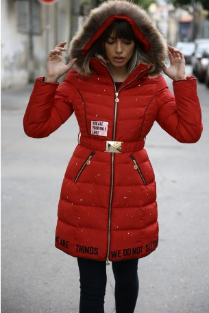 Hooded Red Long  Coat YOUR