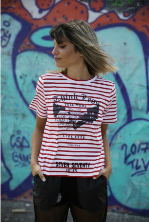 Red and White  Top LIVE FREE