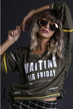 Olive Color Long Sleeves Pullover Top WAITING