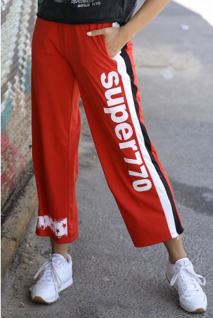 Designed Red Jogger Pants SUPER