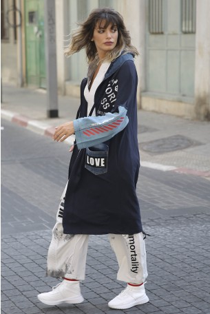 Decorated Printed Denim and Pullover Jacket Coat LOVE