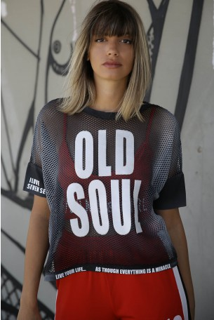 Black Designed Netted Top OLD SOUL