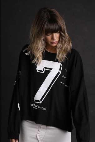 Black Wide Printed Top SEVEN