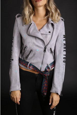 Decorated Gray Faux Suede Jacket WE ARE