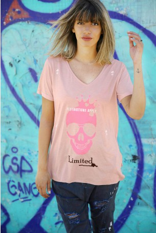 Pink  Skull T  PINK