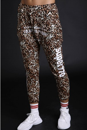 Brown Leopard Designed  Drop Crotch  Pants Folsom