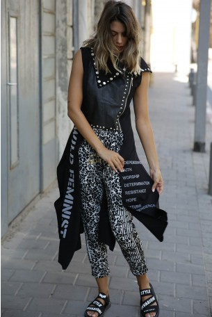 Decorated Printed  Black Vest WILD