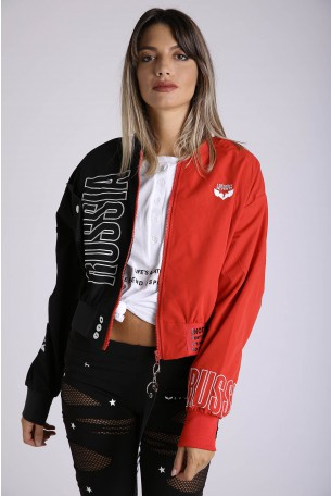 Black and Red Wide Short Zipper Jacket  RUSSIA