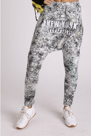 Gray and Black Camo Designed  Drop Crotch  Pants NEW YORK