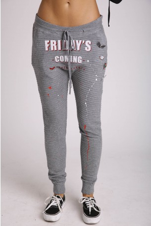 Gray Designed Drop Crotch Pants FRIDAY