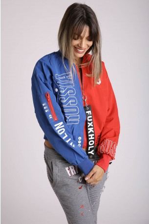 Blue and Red Wide Short Zipper Jacket RUSSIA