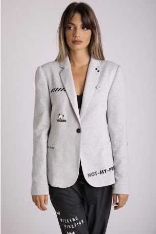 Decorated Gray Blazer Jacket  BETTER