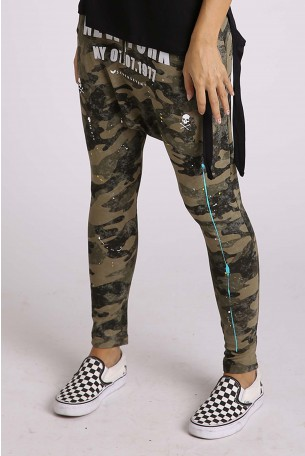Camo Designed  Drop Crotch  Pants NEW YORK