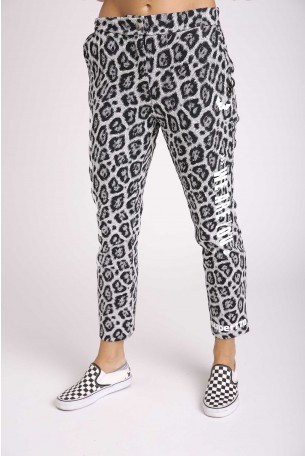 Black Leopard Designed Pants YOU