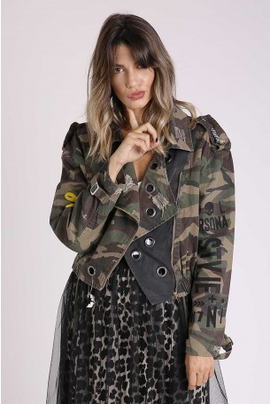 Decorated camo Army Style Jacket STYLE