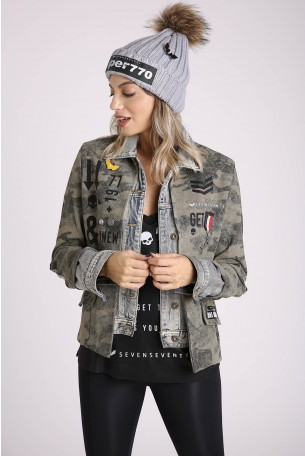 Decorated Combined Denim and Camo Jacket  FET