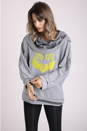 Decorated Printed Gray Long Sleeves Top FORGET