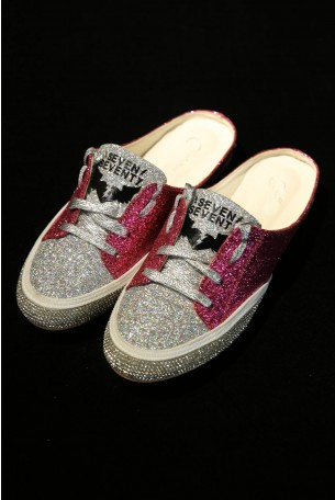 Opened Pink and Silver Sneakers Flats SHINY