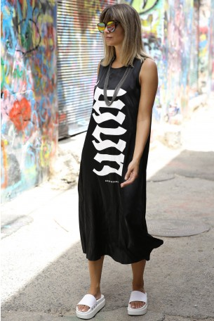 Black Sleeveless Silk Maxi Dress  FLOW
