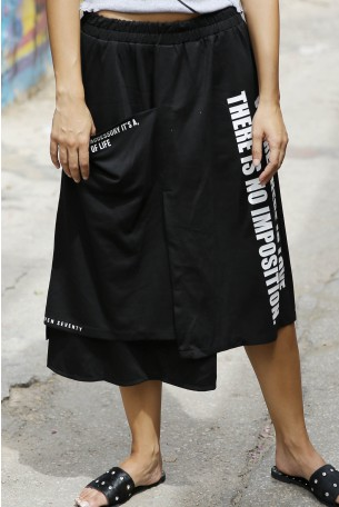 Black Asymmetric Skirt LOVE