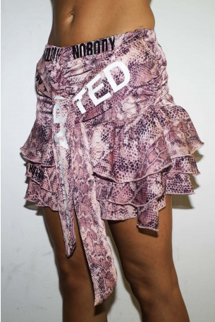 Pink Colors Snake Print  Mini Skirt  NEW YORK