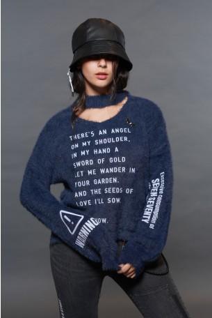 Blue Color Fleece Sweater Top ANGEL