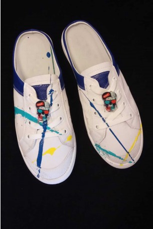 Opened Printed White Sneakers Flats PAINT