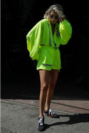 Neon Yellow  Short  Two Piece Set TOO LATE