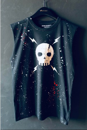 Black Sleeveless Top SKULL
