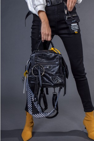 Black Handmade Unique Back Pack  SEVEN