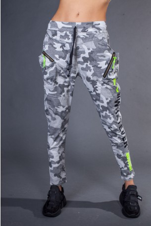 Gray Camo Designed Pants  WHATEVER