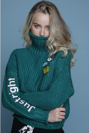 Green Knit Turtleneck Top JUST RIGHT