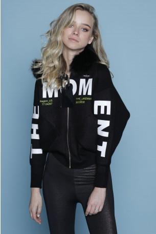Black Jacket Fur hoodie THE MOMENT