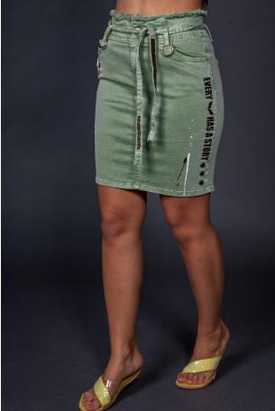 Olive Green Mini Skirt STORY