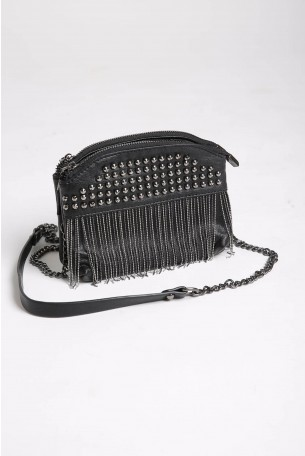 Cross Body Black Fringe Bag ELEGANT